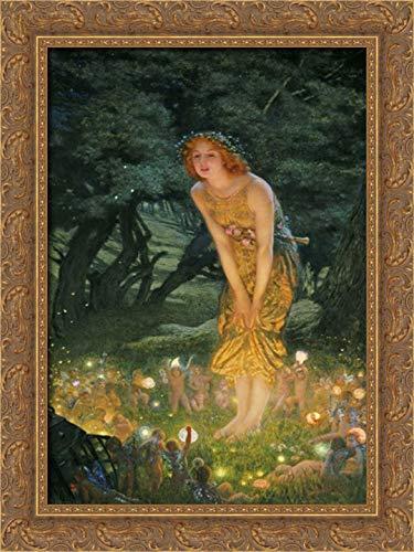 Midsummer Eve 17x24 Gold Ornate Wood Framed Canvas Art by Hughes, Edward Robert - Hughes Framed