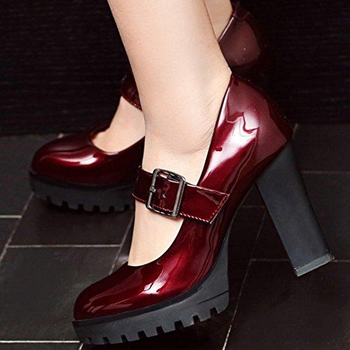 Vestir Wine Jane Mary Rojo Zapatos alto Bombas Mujer Tacon Moda Fiesta COOLCEPT Chunky qwnAWRxPw
