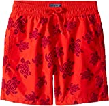 Vilebrequin Kids Boy's Tortues Flockées Swim Trunk (Big Kids) Red 10 Years