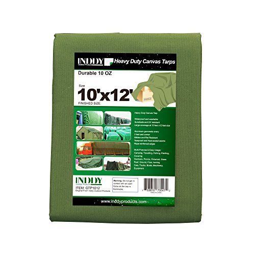 Inddy Tarps 10 x 12 Feet Green 10 oz Canvas Tarp Waterproof Poly Tarp Cover 23 Mil Thick Heavy Duty tarp for Camping shelter Tent car Boat Truck Cover Sunshade and UV Resistant