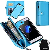 iPhone 8 Plus Case, iPhone 7 Plus Case, Zipper Wallet Type Flip Folio Premium Leather Credit Card Holder Case with Wrist Strap - Detachable Magnetic Back Cover for iPhone 7Plus / iPhone 8Plus
