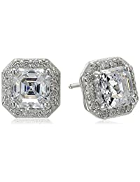Platinum or Gold-Plated Sterling Silver Asscher-Cut Swarovski Zirconia Halo Earrings (1 cttw)