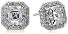 An Amazon brand - Halo stud earrings designed with a round brilliant cut frame and asscher cut centerpieces set with Swarovski Zirconia (1 cttw)