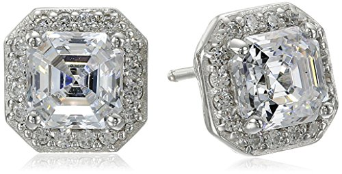 Platinum Plated Sterling Silver Halo Earrings set with Asscher Cut Swarovski Zirconia (1 cttw) (Asscher Stud)