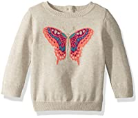 Crazy 8 Toddler Girls' Butterfly Icon Sweater, Peanut Heather, 6-12 Mo