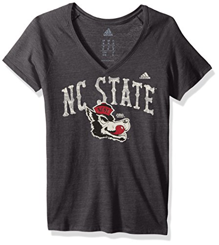 - adidas NCAA North Carolina State Wolfpack Women's Vault Arch Tri-Blend V-Neck Short Sleeve Tee, Medium, Black