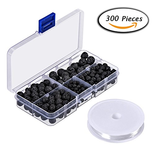 Paxcoo 300pcs Black Lava Stone Round Loose Beads with Free Crystal String for Jewelry Making