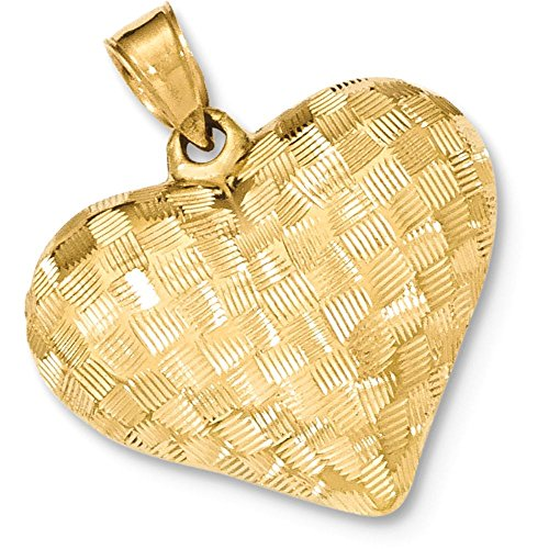14k Gold Hollow Quilt Weave Pattern Textured Puffed Heart Pendant Charm - (Yellow Gold, 1.00 Inch ()