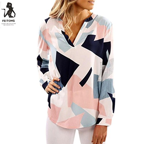 Price comparison product image Tootu Womens Casual Print V Neck Long Sleeve Shirts Tops Blouse (S, Blue)