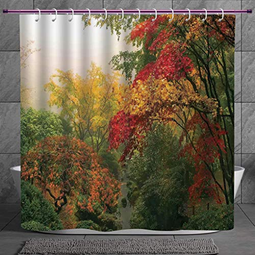 SCOCICI Stylish Shower Curtain 2.0 [ Country Home Decor,Maple Trees in The Fall at Portland Japanese Garden One Foggy Morning Scenery,Red Yellow Green ] Fabric Bathroom Decor Set with Hooks
