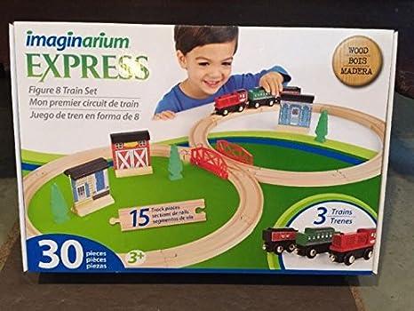 Amazon com: Imaginarium Express Train Set - 30-Piece figure 8 Wood