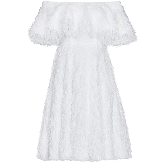 Falda de Plumas con Borla Blanca para Mujer, Vestido de Noche de ...