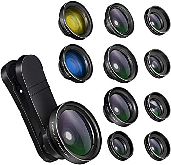 Pretmess 11 in 1 0.65X Wide Angle Lens for iPhone and Android