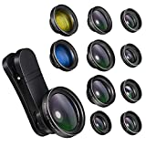 Phone Camera Lens,11 in 1 0.65X Wide Angle Lens+230° Fisheye Lens+20X Macro Lens+2X Telephoto Lens+CPL+6 Kaleidoscope Lens+Starburst Lens+Radial+Flow+2 Color Filter Lens for iPhone and Android