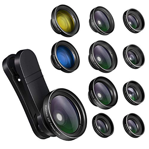 iPhone Camera Lens Kits - Pretmess 4K HD 11 in 1 Aspherical Wide Angle Lens+Super Macro+Fisheye Lens+Telephoto, Phone Lens for Android/iPhone,Cell Phone Video Lens for iPhone/Samsung/Most Smartphone (Best Android Phone Tricks)