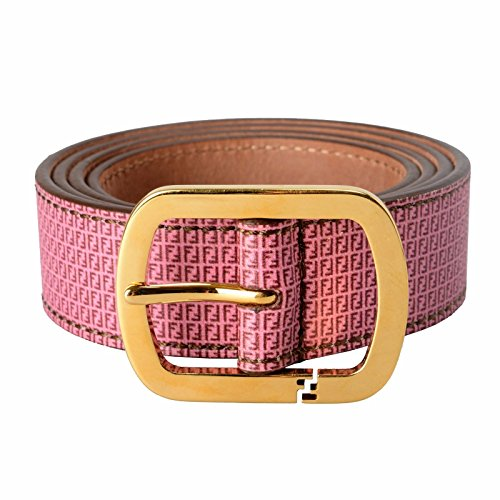 Fendi 100% Leather Pink Patterned Women's Gold Buckle Belt Size US 32 IT (Fendi Leather Belt Buckle)
