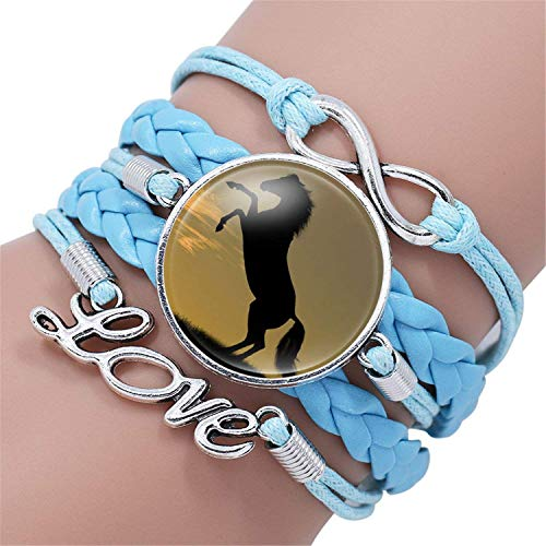 Authentic Hermes Leather Bracelet - Attrastores Sweet Fashion Horse Love Leather Infinity Wrap Bracelet Bangle for Women Handmade Glass Cabochon Horse Jewelry Best Gift,12003308