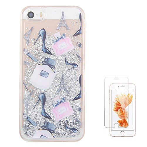 iPhone 5S Case,iPhone 5 Case, iPhone SE Case uCOLOR Silver Glitter Perfume High Heels Waterfall Hard Cover Clear Case for iPhone SE/5S/5 with Slim Tempered Glass Screen Protector
