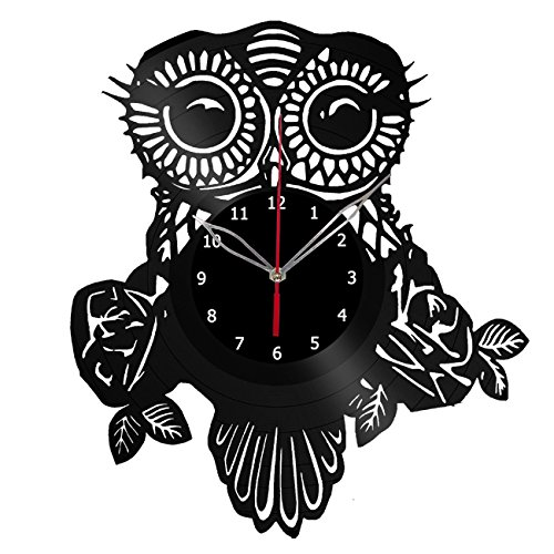 Owl Vinyl Record Wall Clock Fan Art Handmade Decor