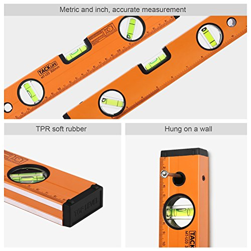 TACKLIFE MT-L03 12-Inch Level Aluminum Alloy Magnetic Torpedo Level Plumb/Level/45-Degree Measuring Shock Resistant Spirit Level with Standard and Metric Rulers by TACKLIFE (Image #1)