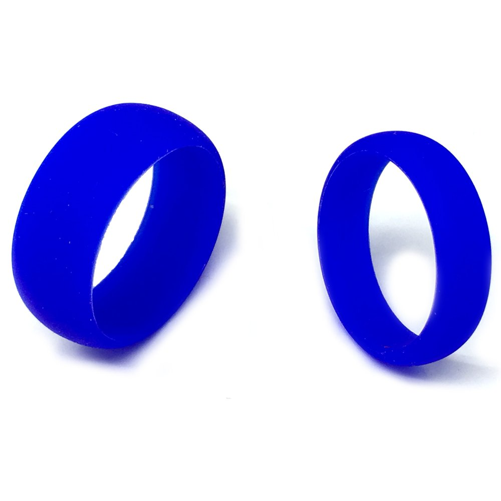 SAR- SAFE ACTIVE RINGS - Wedding Band Ring Set For Him & Her 8MM/6MM Blue Flexible Silicon Design