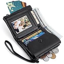 UTO Women Wristlet Small Wallet Compact Luxury Wax/Matte PU Leather Card Slot Zipper Coin Holder Purse CA