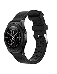 Welcomeuni Fashion 20MM Sports Silicone Bracelet Strap Band For Samsung Gear S2 Classic 732 (BK)