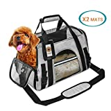 FANCYDOG Airline Approved Pet Carrier Soft Side Portable Pet Travel Bag Mesh Windows Fleece Padding Under Seat Pet Bags Small Dogs Cats (Grey)