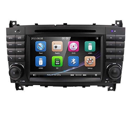 """Car Stereo DVD Player 7"""" in Dash Autoradio 2 Din Head Unit GPS Navigation with DVD Player for Mercedes-Benz C-W209/ C-W203/ Viano/Vito/Vaneo/A-Class (with SWC Buttons)"""