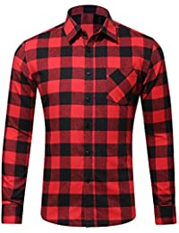 Men's Long Sleeve Plaid Flannel Shirt Casual Button-Front Check Shirts