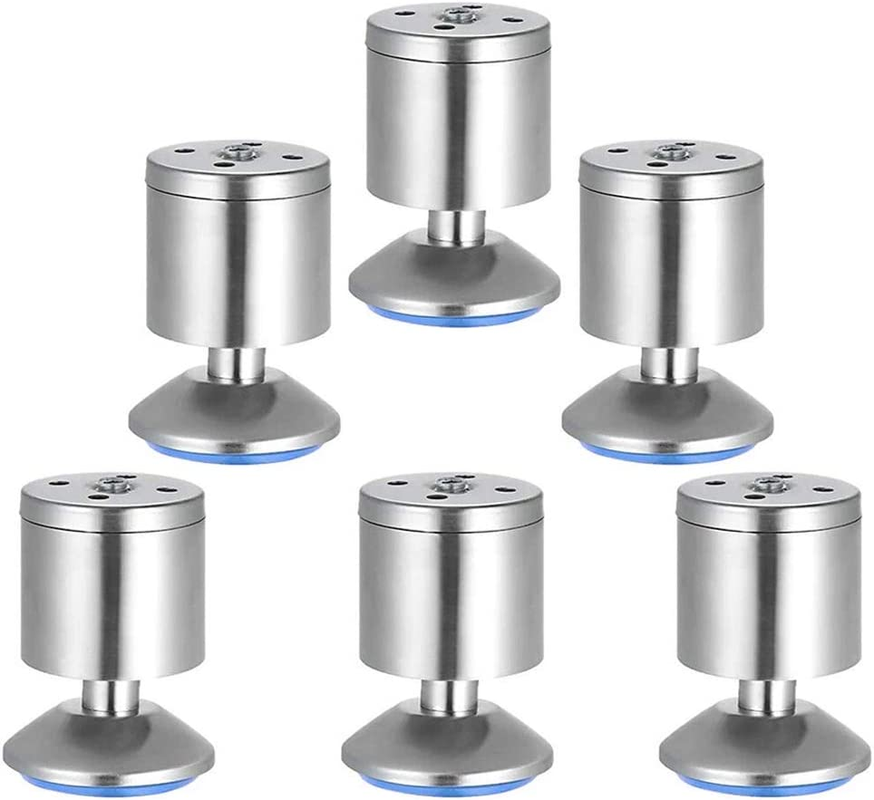 Mesee 6 Pieces Furniture Legs Levelers with Rubber Mat, Stainless Steel Adjustable Feet Leveler Furniture Foot Leveling Tool Accessory for Table Desk Cabinet Wardrobe Sofa - 50 x 80mm