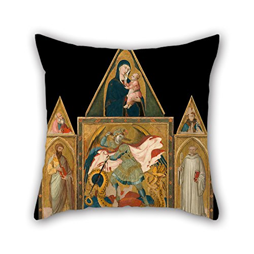 Slimmingpiggy Throw Pillow Case Of Oil Painting Ambrogio Lorenzetti - Rofeno Abbey Poliptych. Saint Michael The Archangel Slaying The Dragon Between Saints Bartholomew An 18 X 18 Inches / 45 By 45