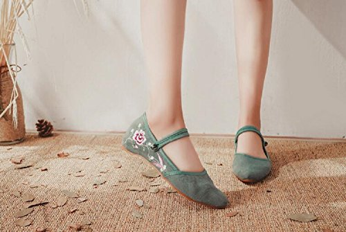 Lazutom Womens Chinese Traditional Embroidery Casual Mary Jane Dancing Party Dress Shoes Green zuom36X