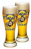 Cheap Pilsner – US Marine Corps Gifts for Men or Women – USMC Semper Fidelis Beer Glassware – USMC Barware Glasses Set of 4 (23 Oz)