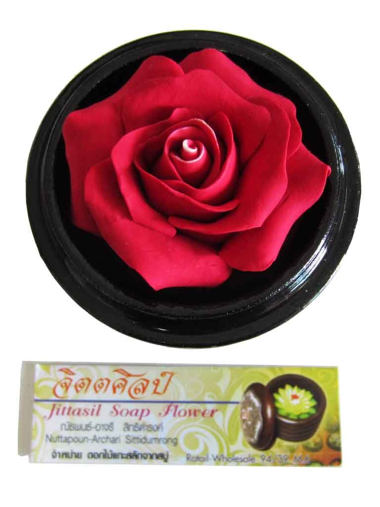Jittasil Thai Hand-Carved Soap Flower, 4 Inch Scented Soap Carving, Red Rose In Decorative Pine Wood Case