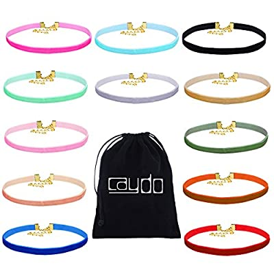Caydo 12 Pack Ribbon Velvet Choker Necklace Set for Women and Girls by Caydo