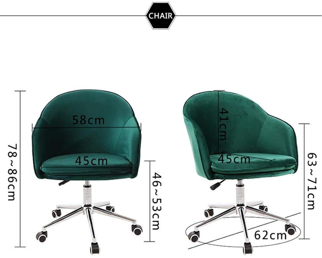 LQ kontorsstol/datorstol/soffstol, ergonomiskt armstöd, höjdjustering, sammetstyg, avtagbar kudde / skicka kudde (färg: Gul) Khaki