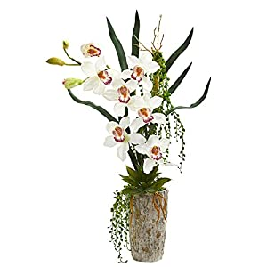 Nearly Natural 1619-WH Cymbidium Orchid Artificial Planter Silk Arrangements, White 25