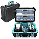 Navaris Technicians Tool Case Box - Plastic Technician Toolbox with Storage Compartment Organizers and Custom Insert Dividers 20.5 Inches (52.5 cm)