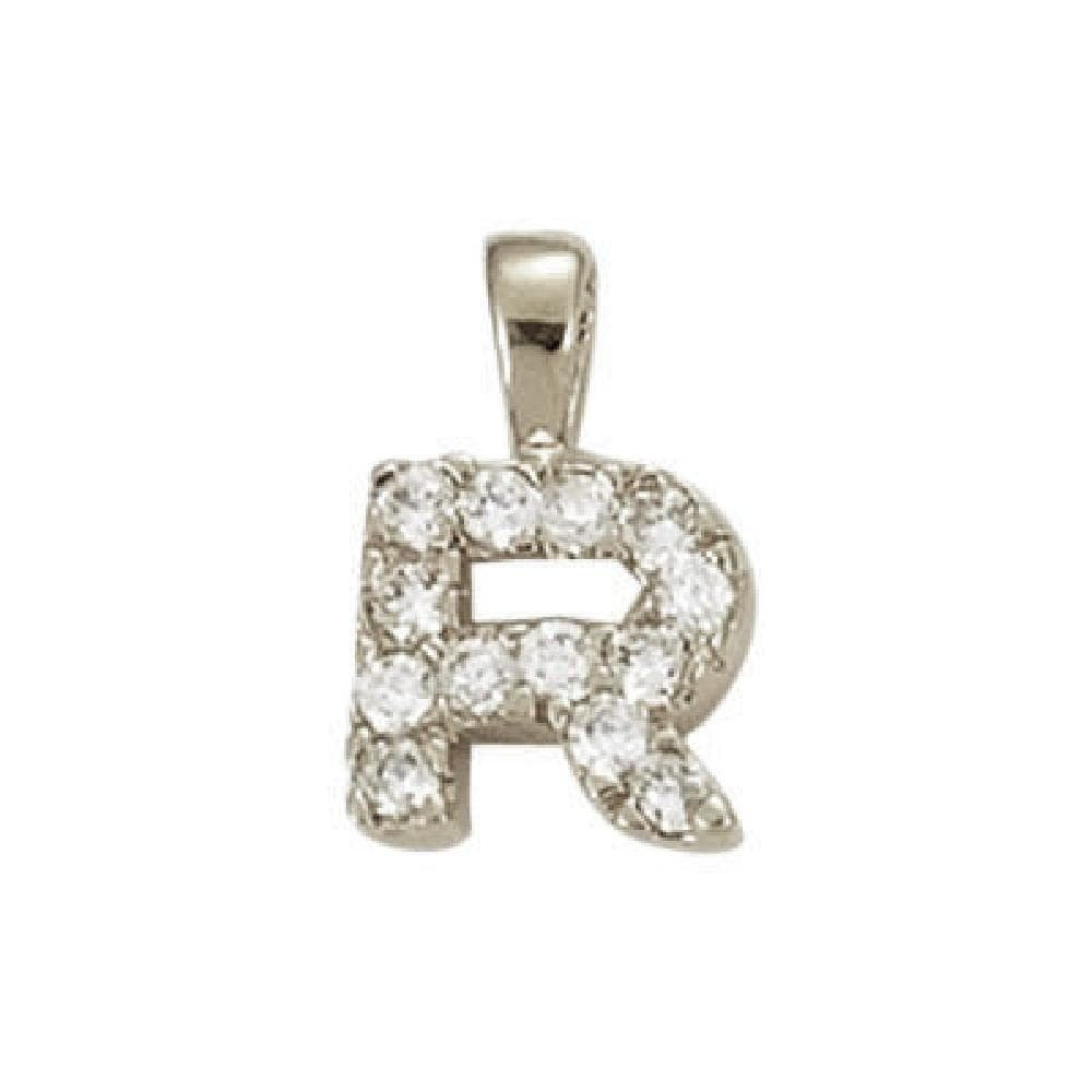 So Chic Jewels 925 Sterling Silver Clear Cubic Zirconia Letter R Initial Pendant