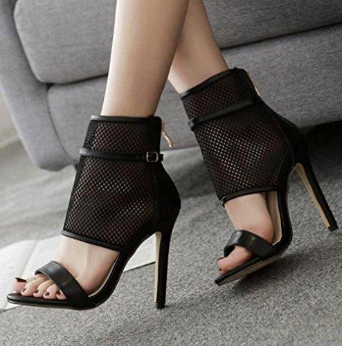 Aisun Damen Kunstleder Offene Zehen Mesh Stiletto Sommerstiefel Sandale mit Reißverschluss Schwarz