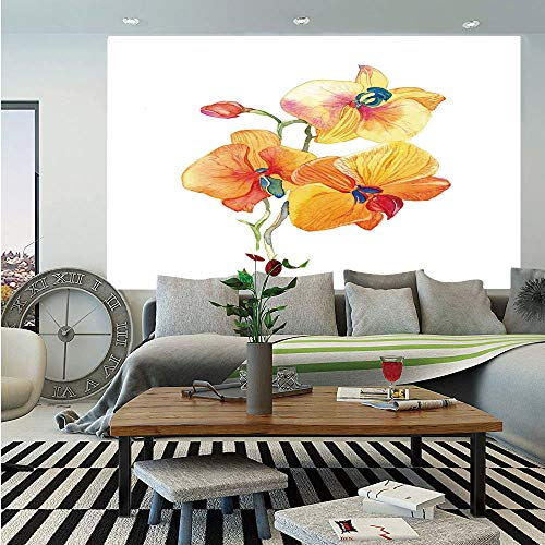 SoSung Floral Wall Mural,Orchid Petals Wild Flower Exotic Fragrance Pure Florets Elegance Watercolor,Self-Adhesive Large Wallpaper for Home Decor 83x120 inches,Red Yellow Marigold