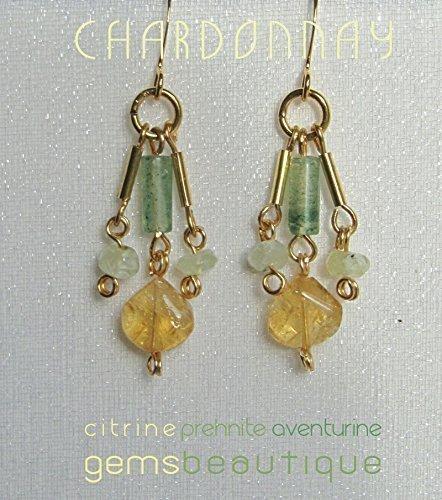 GemsBeautique Gold Dangle Chandelier Earrings. Chardonnay. Sparkles of citrine, aventurine & prehnite. Genuine Gemstone. Optional Thin Gold Neck Ring Choker.