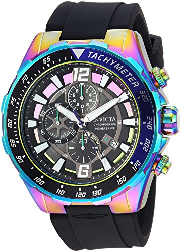 Invicta Men's Aviator Stainless Steel Quartz Watch with Silicone Strap, Black, 26 (Model: 24579)