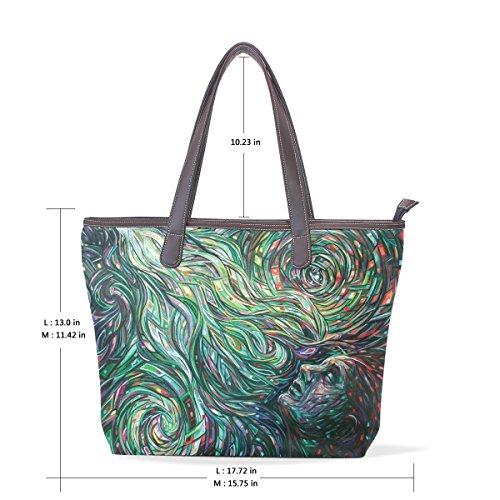 COOSUN Womens Abstract Mental Image Pu Leder Große Einkaufstasche Griff Umhängetasche