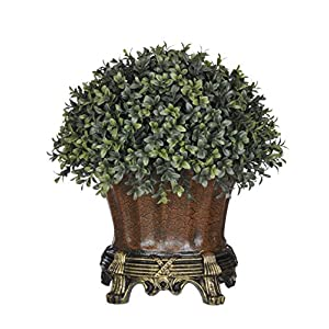 House of Silk Flowers Artificial Half-Ball Boxwood Topiary in Traditional Brown Urn 71