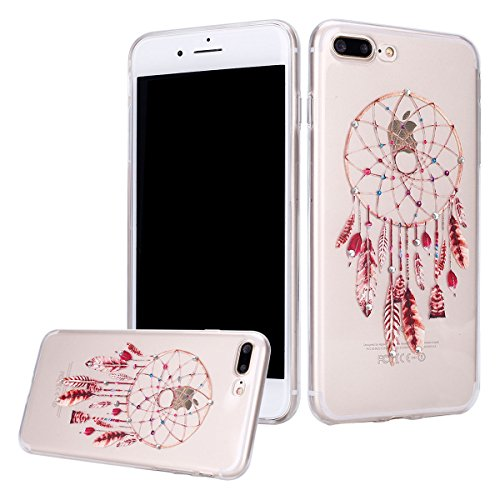 Reds Catchers (iPhone 8 Plus Case,iPhone 7 Plus Case,PHEZEN Luxury Bling Diamond Crystal Clear Soft TPU Silicone Back Cover with Dreamcatcher Pattern for iPhone 8 Plus/iPhone 7 Plus, Red Feather Dream Catcher)