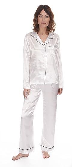 d716831c72 Forever Dreaming Ladies Womens Satin Pajama Set Lounge Sleep Plain Long  Sleeve at Amazon Women s Clothing store