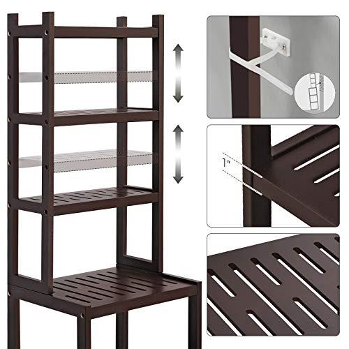 SONGMICS 7-Tier Bamboo Bathroom Shelf, 2-in-1 Design Adjustable Storage Rack, Free Standing Multifunctional Organizer, Shelving Unit for Washroom, Living Room, Kitchen, Brown UBCR01BR, 1603628 cm, by SONGMICS (Image #6)
