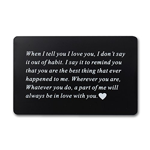 Vanfeis Engraved Metal Wallet Insert Card - Happy Birthday Gifts for Women, Men - Wedding Anniversary Gifts for Her, Him or Couple - Unique Engagement Gifts for Bride, Groom and (Happy Halloween Gift Cards)